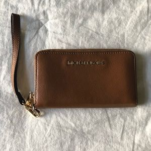 Michael Kors | Brown Leather Wallet Wristlet